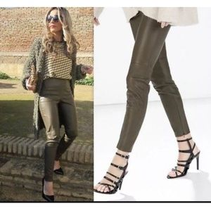 Faux leather treggings